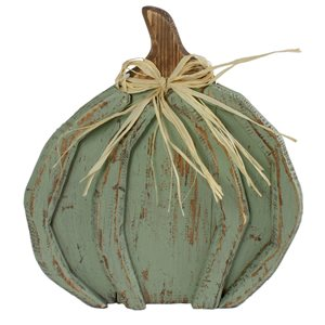 Northlight 11.25-in H Green Painted Plastic Craft Pumpkin