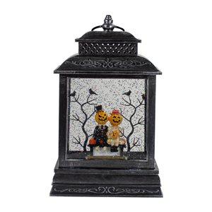 Northlight Black Halloween Snow Globe Lantern with Pumpkin Couple