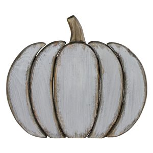 Northlight 11.25-in H White Painted Plastic Craft Pumpkin