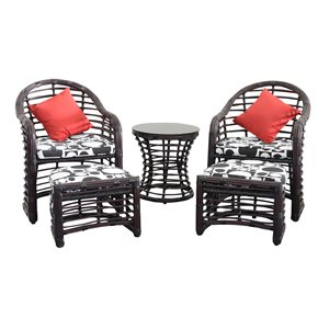 Henryka Black Wicker Steel Frame Patio Conversation Set with Black/White Cushions Included - 5-Piece