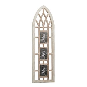 Grayson Lane Vintage Cathedral Window Style Photo Collage Frame in Light Brown Wood and White Distressed Finish (5-in x7-in)