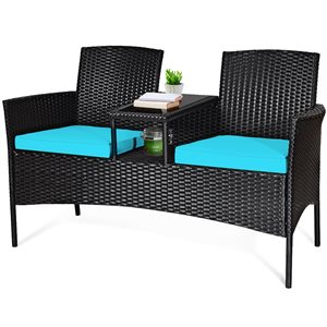 Costway Metal and Rattan Frame Patio Conversation Set with Blue Cushions Included