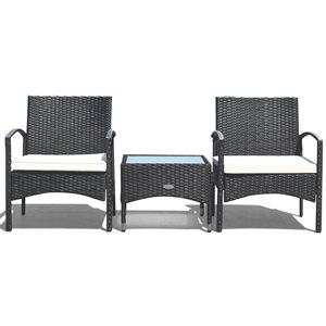 Costway Black Metal and Rattan Frame Patio Conversation Set with White Cushions Included - 3-Piece