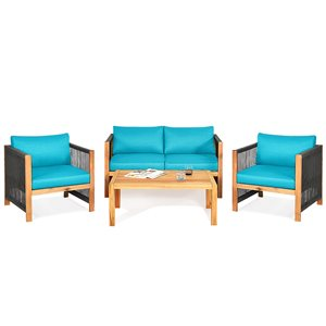 Costway Acacia Wood Frame Patio Conversation Set with Blue Cushions Included - 4-Piece