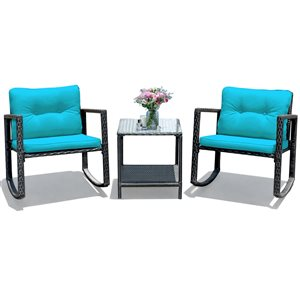 Costway Metal and Rattan Frame Patio Conversation Set with Blue Cushions Included - 3-Piece