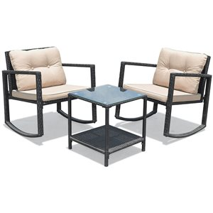 Costway Metal and Rattan Frame Patio Conversation Set with Off-White Cushions Included - 3-Piece