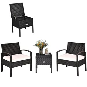 Costway Rattan and Metal Frame Patio Conversation Set with White Cushions Included - 3-Piece