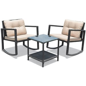 Costway Rattan and Metal Frame Patio Conversation Set with Off-White Cushions Included - 3-Piece