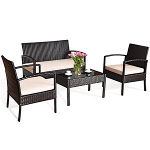 Costway Metal and Rattan Frame Patio Conversation Set with Off-White Cushions Included - 4-Piece