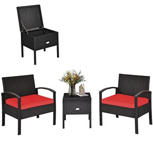 Costway Brown Metal and Rattan Frame Patio Conversation Set with Red Cushions Included - 3-Piece