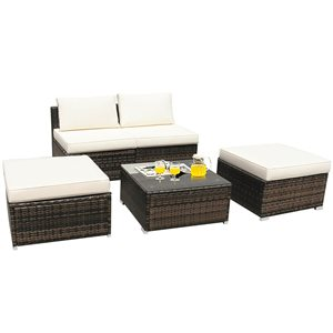 Costway Metal and Rattan Frame Patio Conversation Set with White Cushions Included - 5-Piece