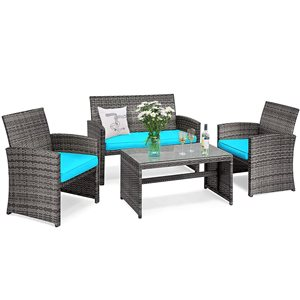 Costway Metal and Rattan Frame Patio Conversation Set with Blue Cushions Included - 4-Piece