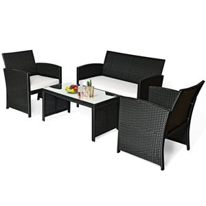 Costway Black Metal and Rattan Frame Patio Conversation Set with White Cushions Included - 4-Piece