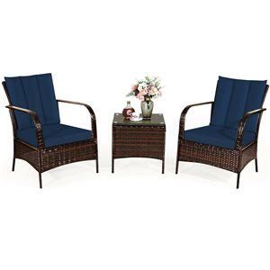 Costway Metal and Rattan Frame Patio Conversation Set with Navy Blue Cushions Included - 3-Piece