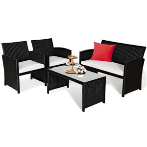 Costway Rattan and Metal Frame Patio Conversation Set with White Cushions Included - 4-Piece