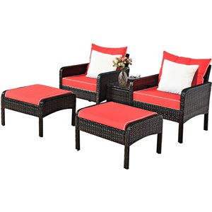 Costway Metal and Rattan Frame Patio Conversation Set with Red Cushions Included - 5-Piece