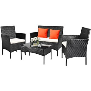 Costway Metal and Rattan Frame Patio Conversation Set with White Cushions Included - 4-Piece
