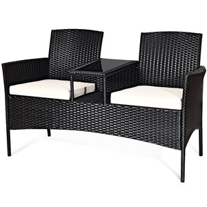 Costway Metal and Rattan Frame Patio Conversation Set with White Cushions Included