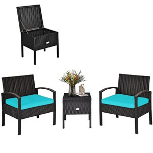 Costway Rattan Frame Patio Conversation Set with Blue Cushions Included - 3-Piece