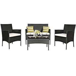 Costway Rattan Metal Frame Patio Conversation Set with White Cushions Included - 4-Piece
