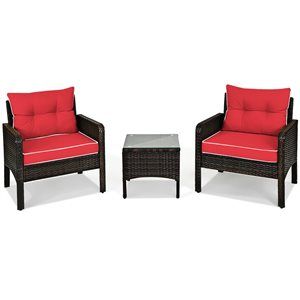 Costway Rattan and Metal Frame Patio Conversation Set with Red Cushions Included - 3-Piece