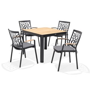Scancom Portals Black Aluminum Frame Patio Dining Set with Grey Cushion(s) Included - 5-Piece