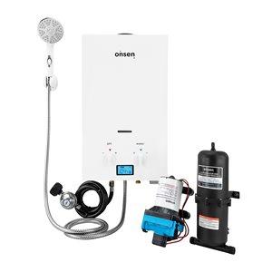 Chauffe-eau sans réservoir d'extérieur Onsen au propane de 1,8 gal/min et 50 000 BTU avec pompe et accumulateur hydraulique