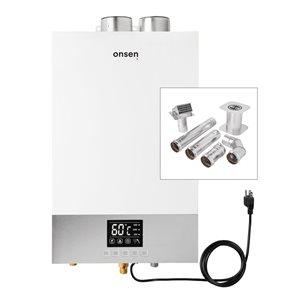 Chauffe-eau sans réservoir d'intérieur Onsen au gaz naturel de 3,7 gal/min et 100 000 BTU avec ensemble pour ventilation mural