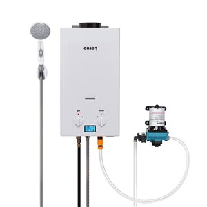 Chauffe-eau sans réservoir d'extérieur Onsen au propane de 1,8 gal/min et 50 000 BTU avec pompe