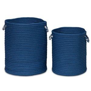 Colonial Mills Sundance 15-in x 15-in x 18-in Blue Woven Hamper