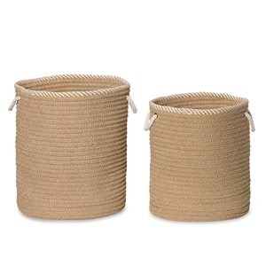 Colonial Mills Soft Chenille 15-in x 15-in x 18-in Sand Woven Hamper