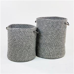 Colonial Mills Galaxy Weave 15-in x 15-in x 18-in Grey Hamper