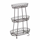 Sunjoy Oval Wrought Iron Plant Stand - Black