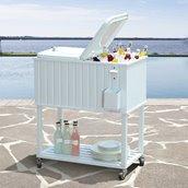 Sunjoy Amherst Wheeled Cooler - 60 Qt - White
