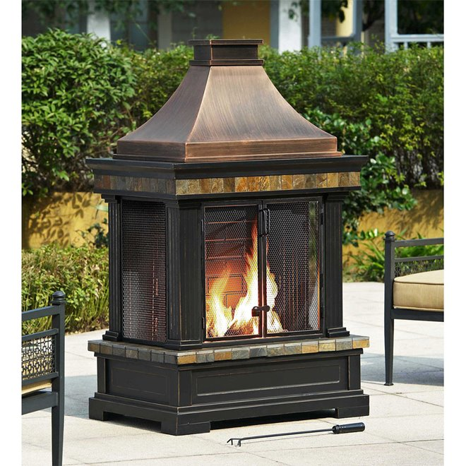 "Sunjoy Outdoor Providence Fireplace - 56"" - Black"