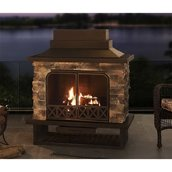 Sunjoy Steel and Faux Stone Outdoor Fireplace - 48