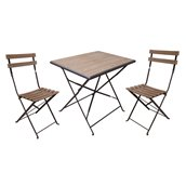 Sunjoy Laurel Folding Bistro Set - Brown - 3-Pieces