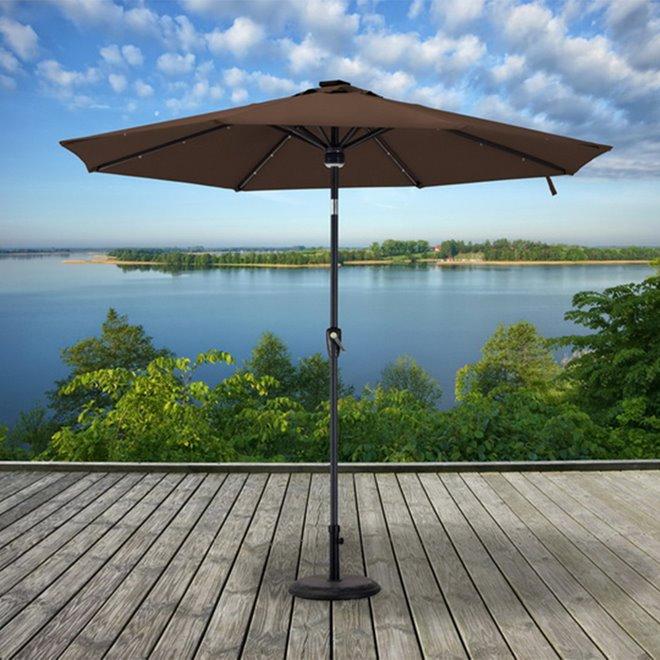 Sunjoy Prescott Patio Umbrella -  9' - Brown