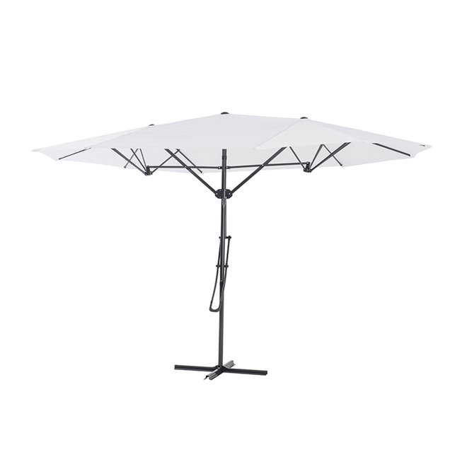 Sunjoy Triple Vent Umbrella with Base - 15' - White