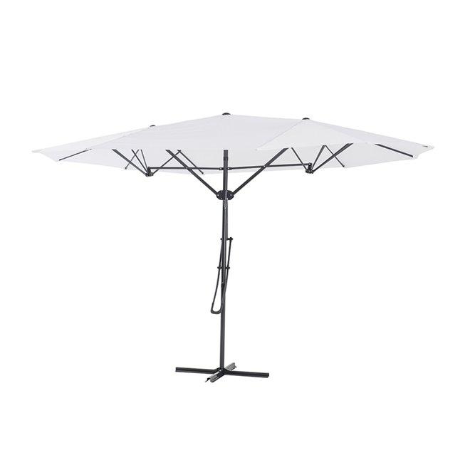Sunjoy Triple Vent Umbrella with Base - 15' - White