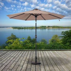 Sunjoy Prescott Umbrella with LED Lights - 9' - Brown