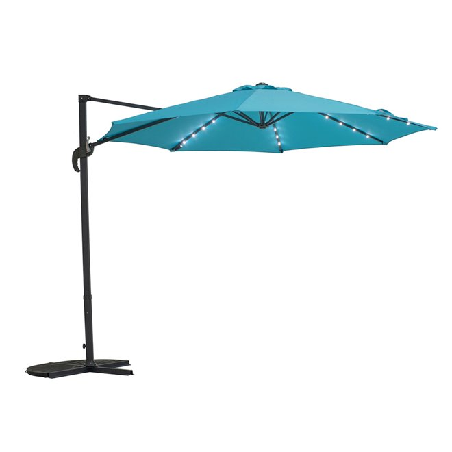 Sunjoy Hanging Outdoor Umbrella with Lights - Blue