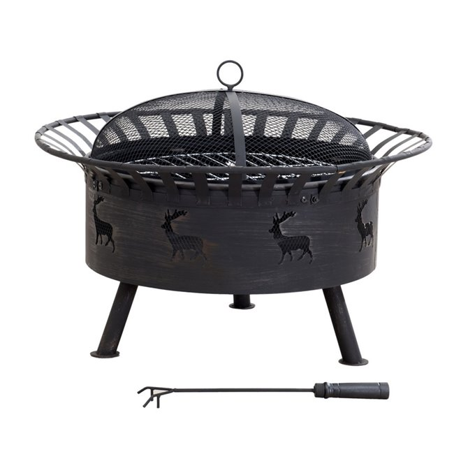 "Sunjoy Steel Round Fire Pit - 32"" - Black"