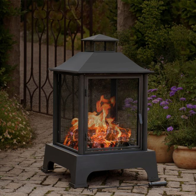 """Sunjoy Pineville Fireplace - 43""""- Black"""