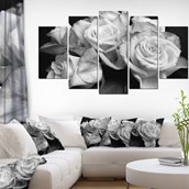 Bunch of Roses Black/White -Canvas Print-60