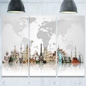 Famous Monuments Metal Print -3 Panels